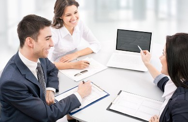 Business People Using Computer - Microsoft Office